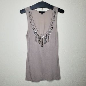 Valerie Bertinelli Taupe Bead Embellished Tank Top